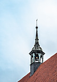 View of a bell tower in Wismar, Germany