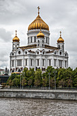 View of the Christ the Savior Cathedral from the Moscow river bank, Moscow, Russia