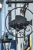 Shop sign of a fish restaurant in Lueneburg, Germany