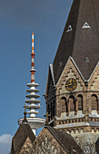 View of the Russian Orthodox Church of Saint John of Kronstadt and the TV tower in Hamburg, Germany