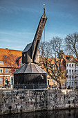 View of the old crane in Lueneburg, Germany