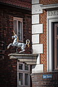 View of the unicorn in Lueneburg, Germany