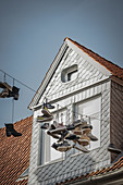 Shoes on the cable in Lueneburg, Germany