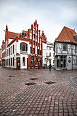 View of the Ratsapotheke in Wismar, Germany