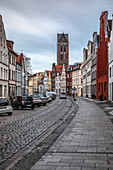 View of the tower of St. Marien Church in Wismar, Germany