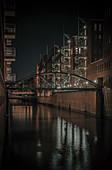 Speicherstadt at night, Hamburg, Germany
