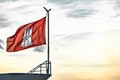 Hamburg flag on the ship in the port of Hamburg, Germany