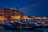 At night on the Grand Canal, Venice, Veneto, Italy, Europe