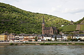 Rhine bank and town with St. Bonifatius Church, Lorchhausen, Hesse, Germany, Europe