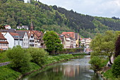 The Tauber flows gently past the old town, Wertheim, Spessart-Mainland, Franconia, Baden-Wuerttemberg, Germany, Europe