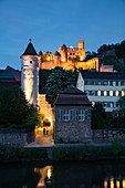 The Tauber flows gently past the old town with the Roter Turm am Faultor (Kittsteintor), collegiate church and Wertheim Castle at dusk, Wertheim, Spessart-Mainland, Franconia, Baden-Wuerttemberg, Germany, Europe