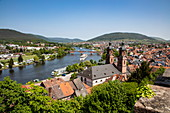 View from Mildenburg to St. Jakobus Church, old town and Main with river cruise ships, Miltenberg, Spessart-Mainland, Franconia, Bavaria, Germany, Europe