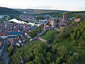 Aerial view of the old town and Wertheim Castle with Main in the distance, Wertheim, Spessart-Mainland, Franconia, Baden-Wuerttemberg, Germany, Europe