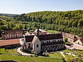 Aerial view of Bronnbach Monastery, Bronnbach, near Wertheim, Spessart-Mainland, Franconia, Baden-Wuerttemberg, Germany, Europe