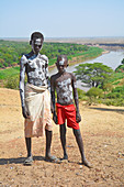 Ethiopia; Southern Nations Region; Kolcho village; on the Omo River; two boys with body paint; Ethnic group of the Karo