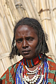 Ethiopia; Southern Nations Region; southern Ethiopian highlands; young woman of the Arbore tribe; Tribal area between Turmi and the village of Arbore