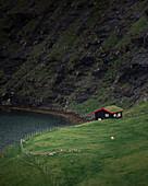 Hut in Saksun Bay on Streymoy Island, Faroe Islands