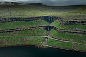Fossa waterfall on Streymoy island, from above, Faroe Islands