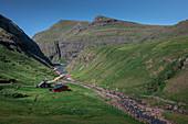 Houses in Saksun Bay, Streymoy, Faroe Islands