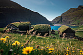 Huts with a grass roof in Saksun village on Streymoy Island, Faroe Islands