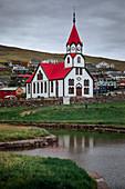 Church in the village of Sandavágur on Vagar Island, Faroe Islands