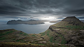 Panorama of Streymoy and Vagar with clouds, Faroe Islands