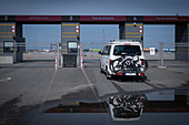 Campervan at the ferry terminal in Denmark, Hirtshals on the Faroe Islands
