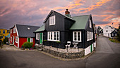 Houses in the old town of Torshavn in sunset, Faroe Islands