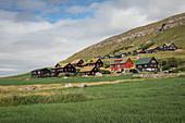 Houses in the village of Kirkjubøur on Streymoy, Faroe Islands