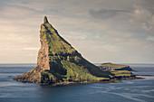 Tindholmur Island in Vagar, Faroe Islands