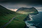 Road to Viðareiði under the mountain Villingadalsfjall on the island of Vidoy, Faroe Islands