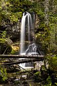 Wasserfall im Schwarzenbachtal, Mangfallgebirge, Gemeinde Kreuth, Bayern, Deutschland
