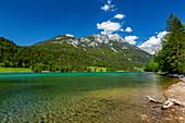 Hintersteinersee with a view of the Wilder Kaiser, Kaiser Mountains, Tyrol, Austria