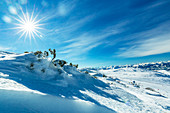Steinplatte in winter with Tyrolean Alps panorama, Tyrol, Pillerseetal, Austria
