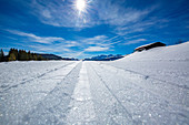 Cross-country ski track with a panoramic view of the Loferer Steinberge on the Winklmoos Alm, Chiemgau, Bavaria, Germany