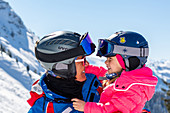 Child with a ski instructor in St. Johann in Tirol, St. Johann, Tirol, Austria