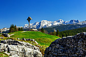 View of the Loferer Steinberge from the Winklmoos Alm in spring, Tyrol, Salzburg, Chiemgau, Bavaria, Germany