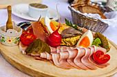 Bavarian snack, Winklmoos Alm, Reit im Winkl, Chiemgau, Bavaria, Germany