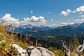 View into the Steinerne Meer and Loferer Steinberge in summer, Chiemgau, Bavaria, Germany, Pinzgau, Salzburg, Austria