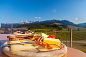 Bavarian snack with a view to enjoy, Winklmoos Alm, Reit im Winkl, Chiemgau, Bavaria, Germany