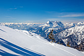 Panoramic view of the Tyrolean Alps and the Kaiser Mountains on the Steinplatte in winter, Tyrol, Pillerseetal, Austria