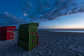 Beach chairs in the evening, Foehr Island, North Frisia, Germany