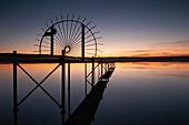 Cast iron gate on a jetty on Ammersee, Fünfseenland, Upper Bavaria, Bavaria, Germany, Europe