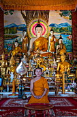 Young monk poses in front of Buddha statue at Vat Chom Khao Manilat Temple, Houayxay (Huay Xai), Bokeo Province, Laos, Asia