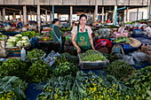 Friendly woman sells vegetables in the covered market, Houayxay (Huay Xai), Bokeo Province, Laos, Asia