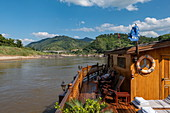 Deck of river cruise ship Mekong Sun on river Mekong, Houne District, Oudomxay Province, Laos, Asia