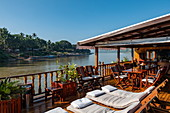 Deck chairs on board the river cruise ship Mekong Sun on the Mekong river, Luang Prabang, Luang Prabang Province, Laos, Asia