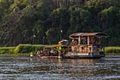 Tourist excursion boat on Mekong River, Luang Prabang, Luang Prabang Province, Laos, Asia