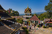 Aerial view from Vat Chom Khao Manilat Temple, Huoayxay (Huay Xai), Bokeo Province, Laos, Asia