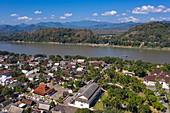 Aerial view of the city with Mekong River, Luang Prabang, Luang Prabang Province, Laos, Asia